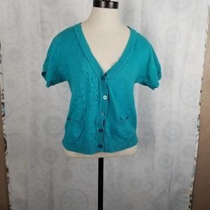 Mossimo Supply Co turquoise cardigan Sz Small EUC